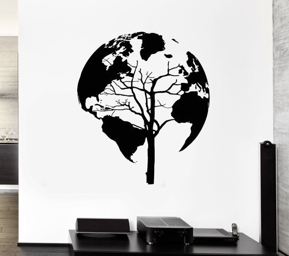 Wall Stickers Vinyl Decal  Map  World MapEarth Tree Cool Decor Living Room (z2076)