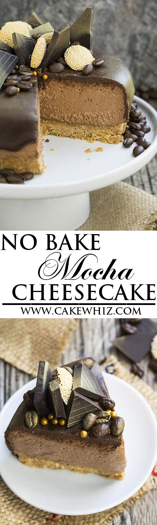 This easy NO BAKE MOCHA CHEESECAKE recipe makes the perfect dessert for Summer parties. It's packed with rich chocolate and coffee/espresso flavors. Also included are lots of tips on how to make perfect no bake cheesecakes every time as well as the perfect graham cracker crust. {Ad} From cakewhiz.com