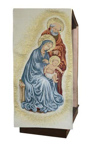 Cubreambón de la Sagrada Familia fabricado en viscosa y poliéster / Lectern cover with the Holy Family's embroidery.(2/3). http://www.articulosreligiososbrabander.es/cubre-ambon-atril-iglesia-bordado-sagrada-familia.html