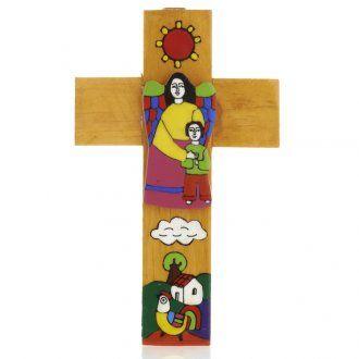 Cruz Ángel dela Guarda madera esmaltada | venta online en HOLYART