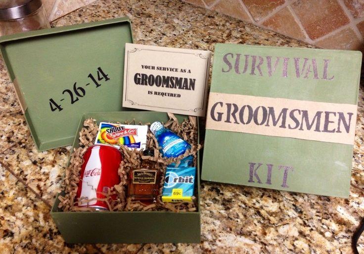 Groomsmen Survival Kits!! Groomsmen boxes, be my groomsman, survival kit. #shahinwedding #mr #mrs #4-26-2014