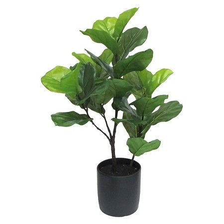 Artificial Fiddle Leaf Fig Tree In Black Pot Tall