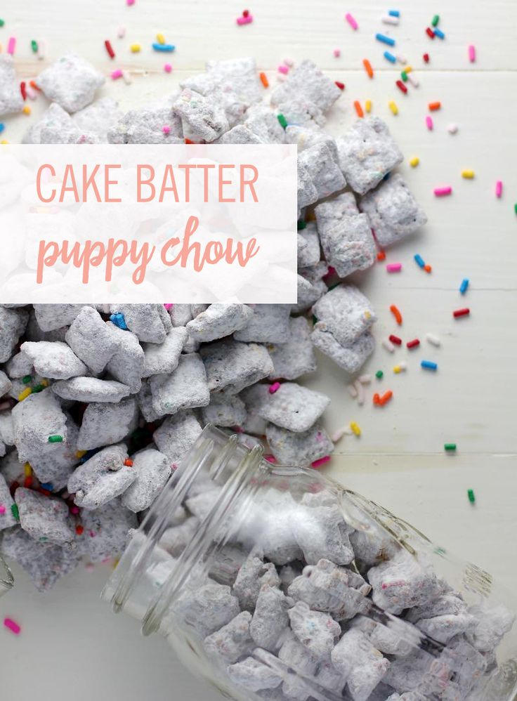There is something utterly addictive about this salty-sweet, crunchy snack that has it flying off the tray as soon as it's ready. Incorporate the delicious taste of cake batter and funfetti for that extra sweet taste to create Cake Batter Puppy Chow. Click for the recipe.