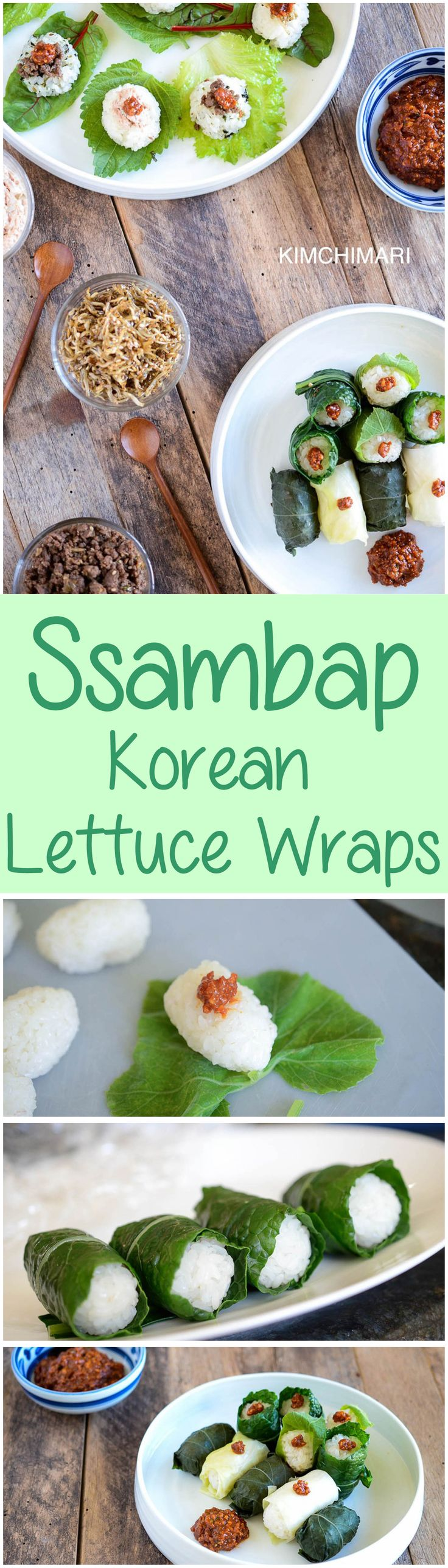 Ssam or ssambap are Korean lettuce wraps, wrapped in greens like perilla, kale and cabbage leaves with surprise fillings inside made of beef, myulchi or tuna. Great for lunch boxes and for parties as