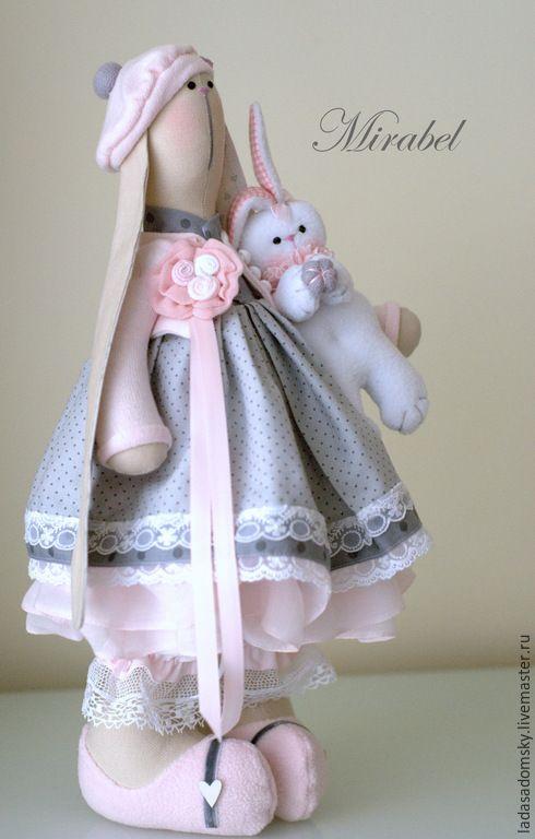 Купить Mirabel - текстильная зайка ( 39 см ) - серый, серо-розовый