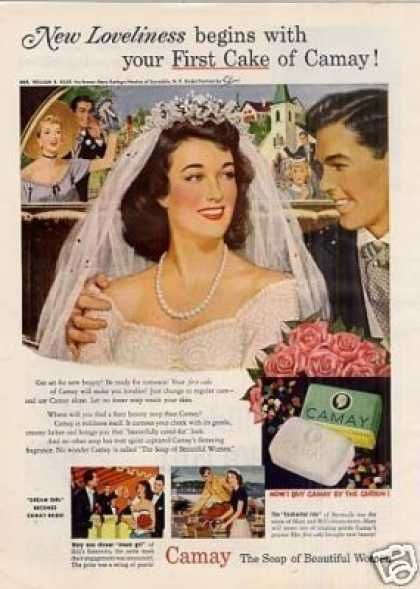 Amazing site for vintage ads    Camay Soap Ad Bride (1950)