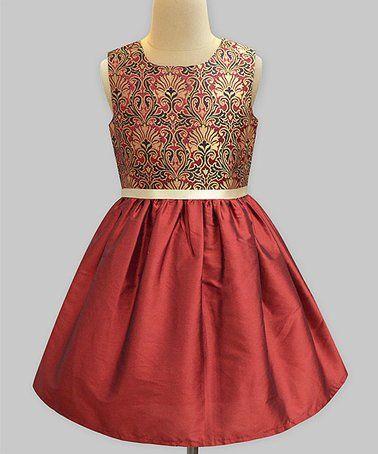 Another great find on #zulily! Burgundy & Gold Brocade A-Line Dress - Infant, Toddler & Girls #zulilyfinds