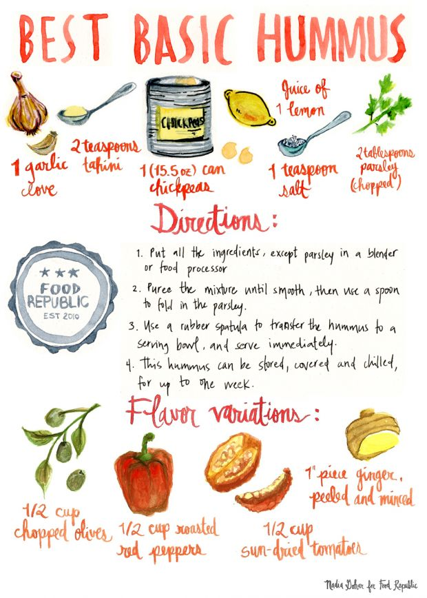 hummus recipe + 4 flavors (and an illustration that's amazing). | food republic.
