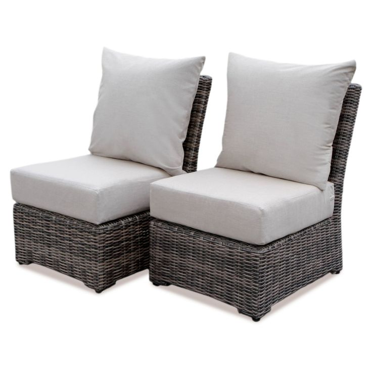 AE Outdoor Cherry Hill Wicker Outdoor Armless Chairs - Set of 2 - 569010-CAST ASH