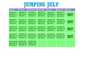 Starts Today !! This months workout challenge. Jumping July: Jump rope, Jumping jacks, Jump Squats