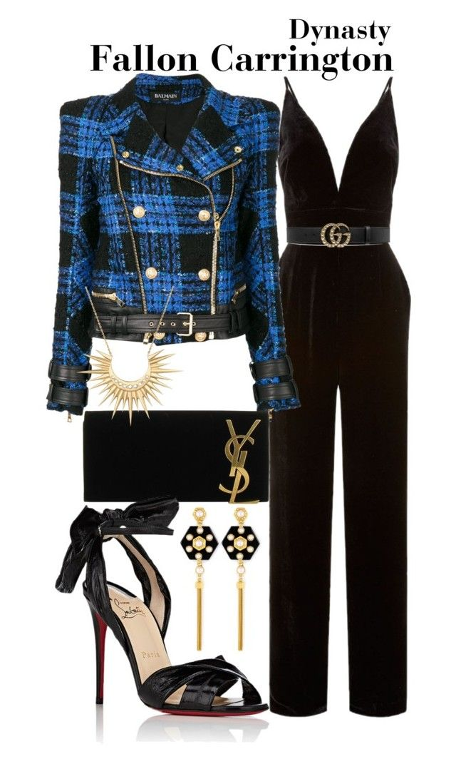 Dynasty by sparkle1277 on Polyvore featuring polyvore, fashion, style, Balmain, La Mania, Christian Louboutin, Yves Saint Laurent, Henri Bendel, Celine Daoust, Gucci and clothing