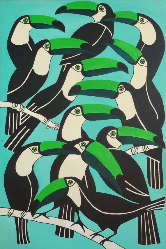 """série """"floral"""" """"green patterns"""" / Pelicans , oiseaux, pattern, répétition, vert, bleu"""