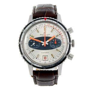 LOT:17   BREITLING - a gentleman's stainless steel Datora chronograph wrist watch.