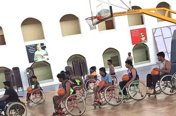 chennai ungal kaiyil Around 20 players are on wheelchairs, playing basketball at Sathyabama University. They need about Rs.15 Lakh to participate in Bangkok event. #sportsupdates #chennaiungalkaiyil. Basketball stadium in chennai