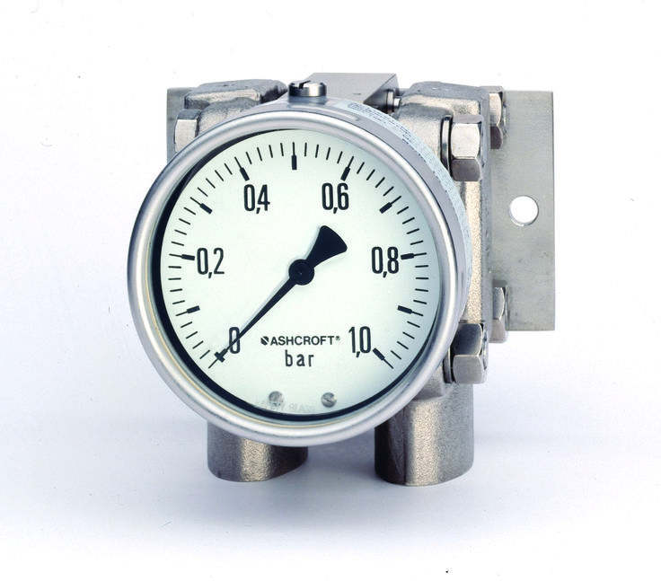 The heavy-duty Ashcroft® Type 5503 differential pressure gauge provides reliable, low DP measurement in high static, wet-wet or dry media applications. Equipped with wetted materials of 316SS or Hastelloy C and a stainless steel housing, the rugged Type 5503 DP pressure gauge is specifically designed to monitor a wide variety of caustic liquids and gases.