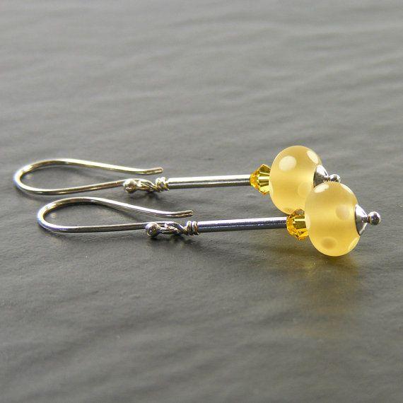 Lemon Earrings SRA Lampwork Glass & Sterling Silver by ErikaPrice