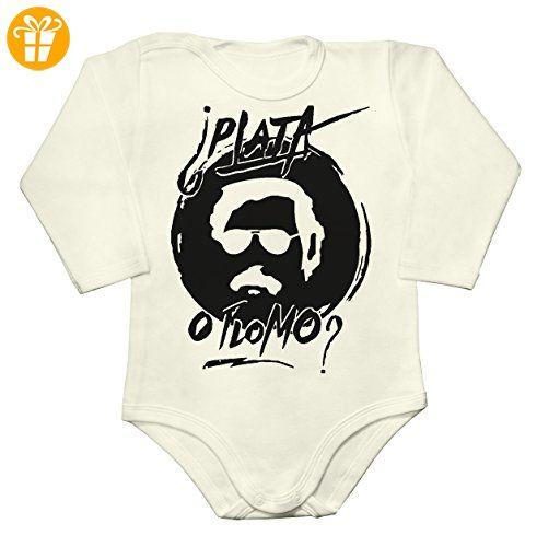 Pablo Escobar PLATA O PLOMO? Baby Long Sleeve Romper Bodysuit Extra Large - Baby bodys baby einteiler baby stampler (*Partner-Link)