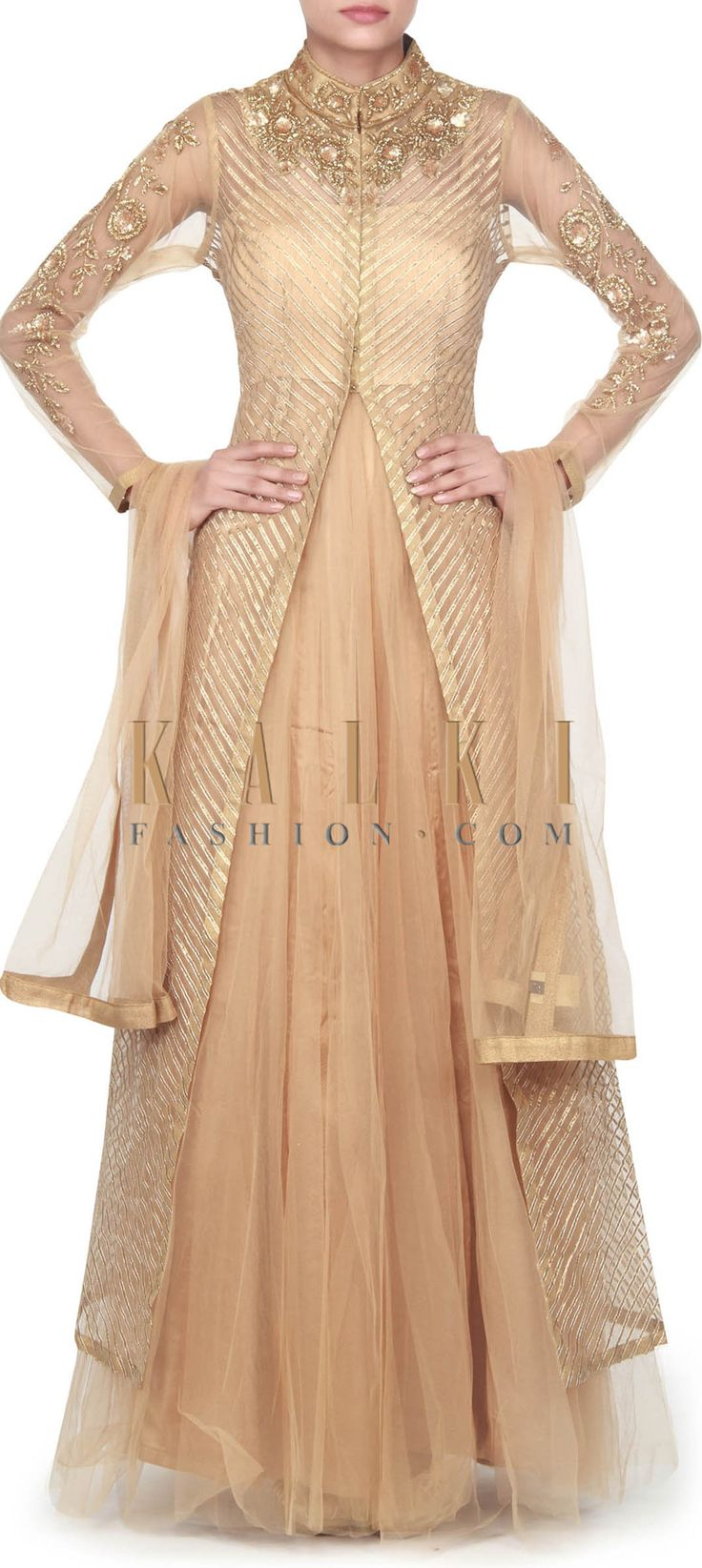 Buy this Gold anarkali suit matched with gotta lace jacket only on Kalki