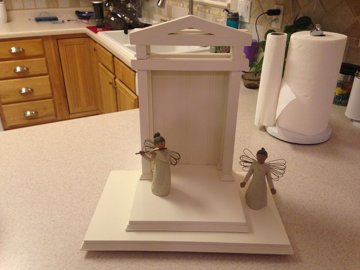 I made this manger display for the Willow Tree nativity set. Materials cost about $100 less than buying it online.