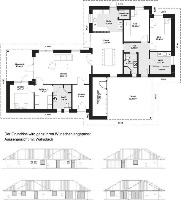 die besten 25 bungalow grundrisse ideen auf pinterest landhaus plan h tte hauspl ne und. Black Bedroom Furniture Sets. Home Design Ideas