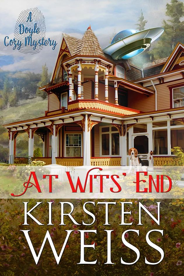 My new cozy mystery coming June, 2017 -- At Wits' End! Susan Witsend inherits her great grandmother's UFO-themed B&B in haunted Doyle, CA.