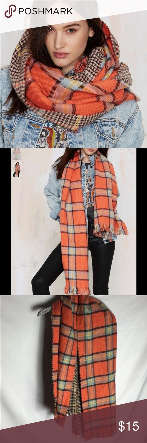 #124 nasty gal Zooey scarf 🐥🔵 cozy Zoey Scarf features an orange, brown, blue, and yellow plaid print on one side, houndstooth print on the other, and blanket silhouette. We love it paired with a denim jacket, jeans, and ankle boots.  *Synthetic Materials  *Imported Nasty Gal Accessories Scarves & Wraps