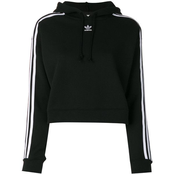 Adidas stripe sleeve hoody ($97) ❤ liked on Polyvore featuring tops, hoodies, black, long sleeve hooded sweatshirt, sport hoodie, hooded sweatshirt, adidas hoodies and hooded pullover