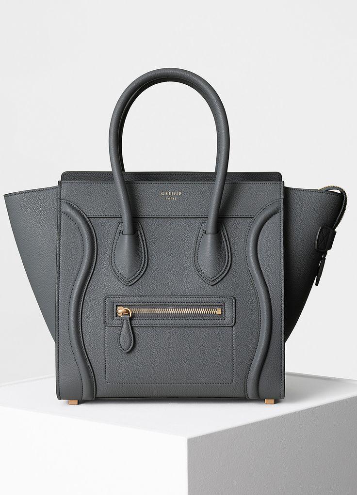 Celine Micro Luggage Handbag in Kohl Baby Grained Calfskin