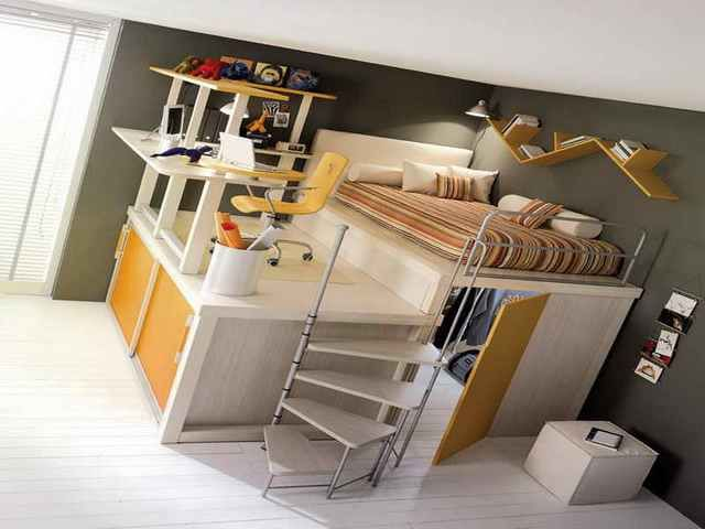 full size loft bed with desk underneath would be neat but not too keen bed with office underneath