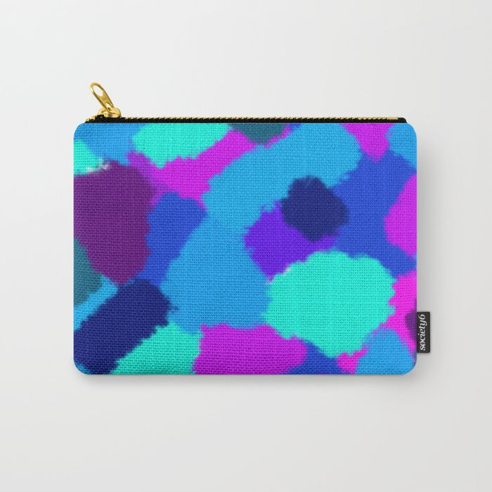 Carry-all Pouch Cold colours fantasy Abstract design with bright brush strokes. Cold colours. digital, sponge, brush, pattern, pop-art, artwork, multicoloured, colourful, bright, cold, colours, cool, blue, pink, purple, cyan, strokes, abstract, society6, gifts, shopping, buy, sell, unique #artwork #abstract #bright #coldcolours #society6 #carryallpouch