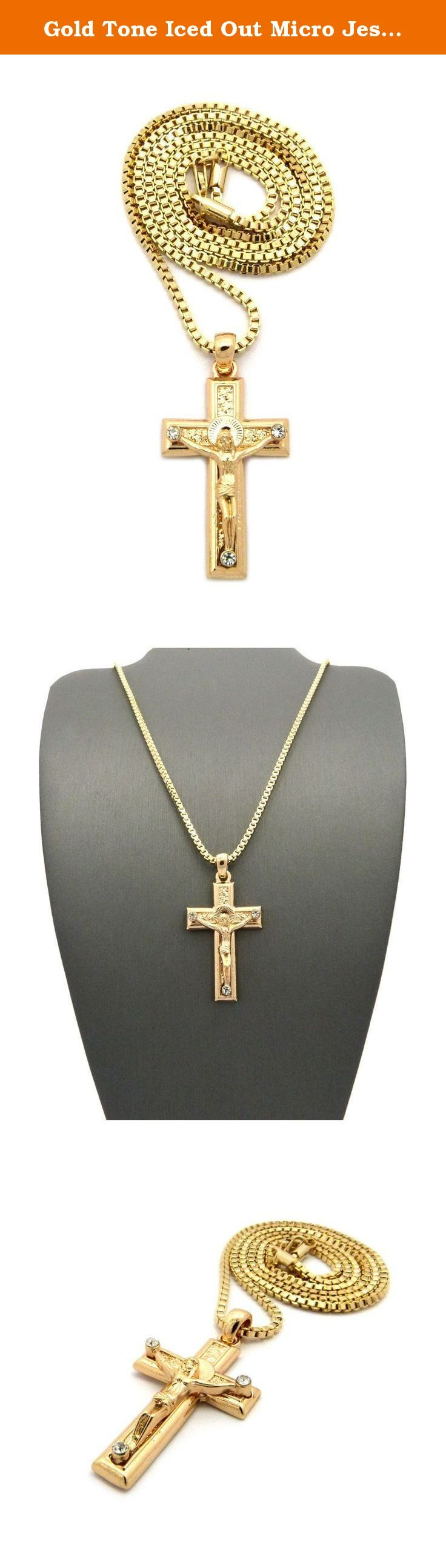 """Gold Tone Iced Out Micro Jesus Crucified Cross Pendant 2mm 24"""" Box Chain Necklace XMP42GBX. Gold Tone Iced Out Micro Jesus Crucified Cross Pendant 2mm 24"""" Box Chain Necklace."""