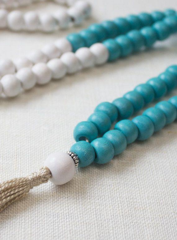Trendy handmade wood bead mala necklace. Buddhist inspired 108 bead meditation mala | Rambutan Designs