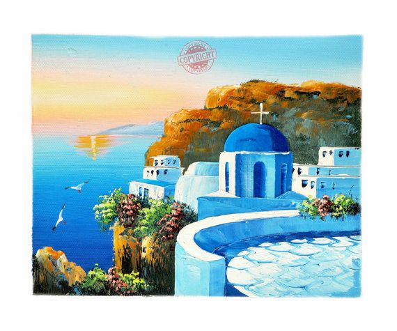 Santorini 6-Oil Painting,Painting on Canvas,Palette Knife,Landscape Painting,Santorini Greece,Blue Roof,White House,Red Flowers,Wall Art