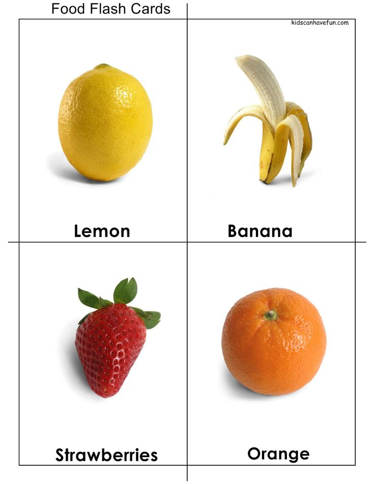 DIY Food #Flashcards for Kids with everyday fruit kids love. Click here to print http://www.kidscanhavefun.com/flash-cards.htm