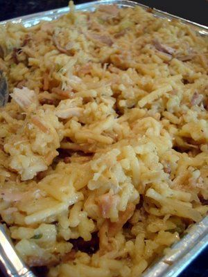 Chicken Cass. ...kid pleaser  Ingredients:  - 3 cups cooked chicken, shredded or cubed  - 1 family size box of chicken flavored rice/vermicelli (like Rice-a-Roni)  - 1/2 cup chopped celery  - 1 med onion, finely chopped  - 3/4 cup mayonnaise (light is fine)  - 1 can cream of chicken soup  - 1/2 cup slivered or blanched almonds browned in small amount of butter or oil  - 1/2 cup crushed corn flakes