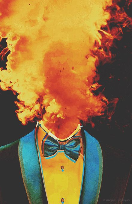 head in fire.