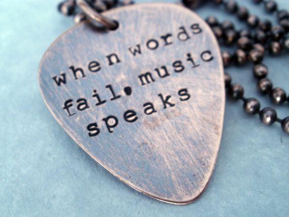 Guitar PIck Necklace When Words Fail Music Speaks by BeckOriginals, $25.99