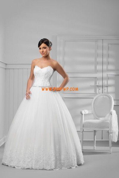 Mode de bal Robe de mariée tulle col en coeur laçage longueur ras du sol avec boléro