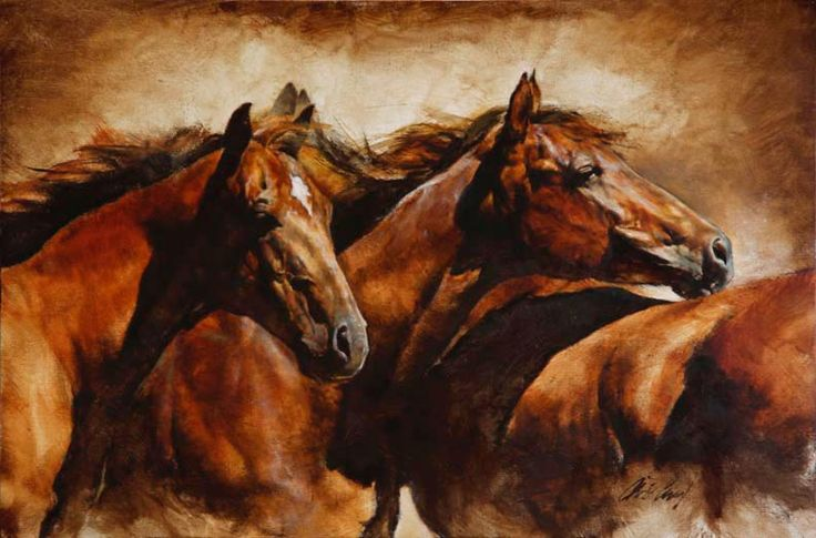 """Chris Owen Western Art """"Together""""--this guys art is great! oil on canvas is the best."""