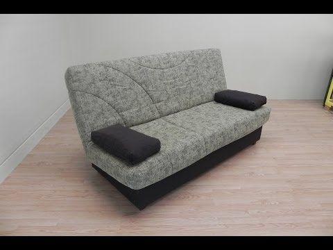 Sofa cama con somier, colchon y arcon tapizado marron o gris de salon comedor. Ref. 17103, 17104 - YouTube