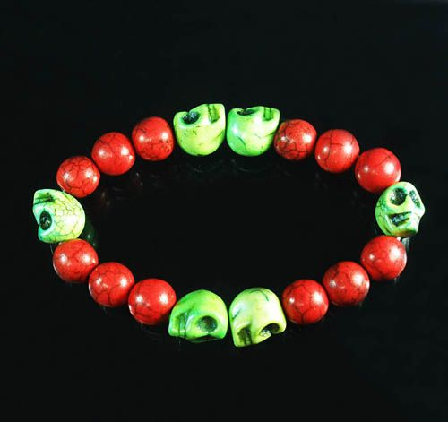 Retail 1pcs Lovely Turquoise Colorful Green Skull Beads Red Veins Ball Beads Stretch Bracelet for Men Women ZZ2569 by www.ig-cn.com, $3.99