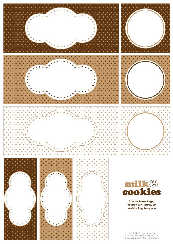 Printables: Cookies Printable, Food Gifts, Cookies Parties, Printable Labels, Printable Tags, Parties Ideas, Cookies Labels, Free Printable, Milk Cookies