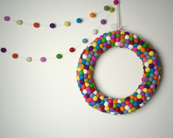 Multicolour Felt ball Wreath and Garland Pack by AzaleaCottageCrafts