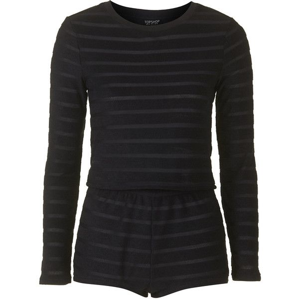 TOPSHOP Towelling Stripe Pyjama Set (624.095 IDR) ❤ liked on Polyvore featuring intimates, sleepwear, pajamas, topshop, black, pijamas, navy blue, striped pjs, striped pyjamas and long sleeve pajamas