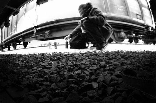 Train Vandal #graffiti #writer #booming #black and white #photo #street #art