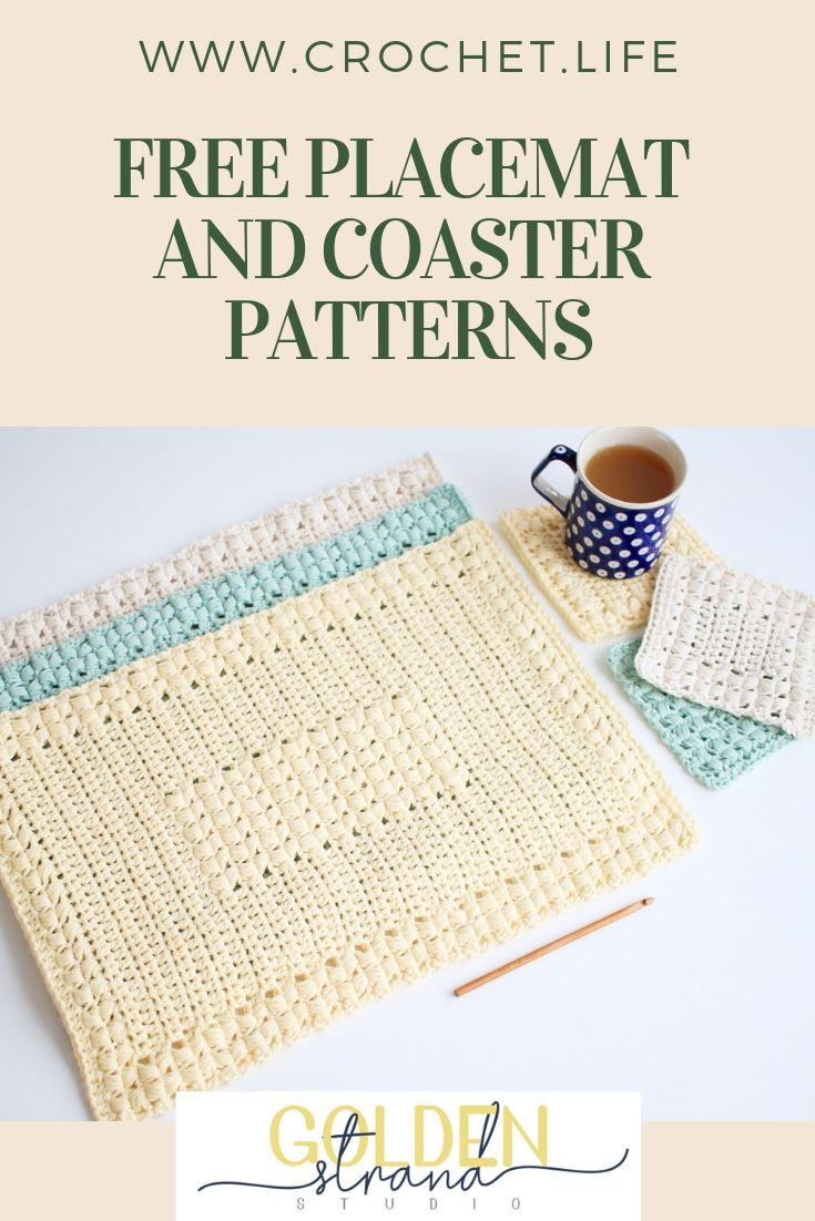 Free Placemat And Coaster Patterns Easy Crochet Pattern Set For