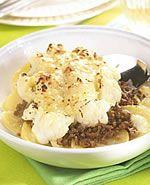 Aardappelgratin met bloemkool en gehakt