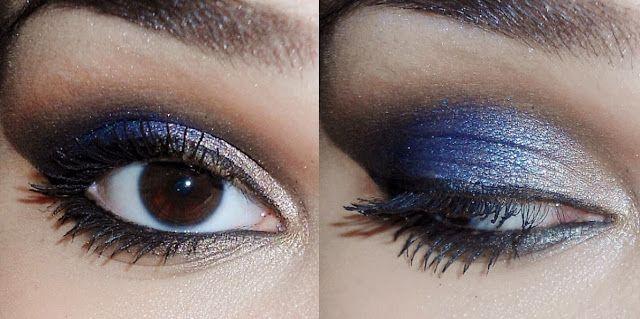 Tudo Junto & Esfumado: Tutorial: Maquiagem azul marinho e dourado