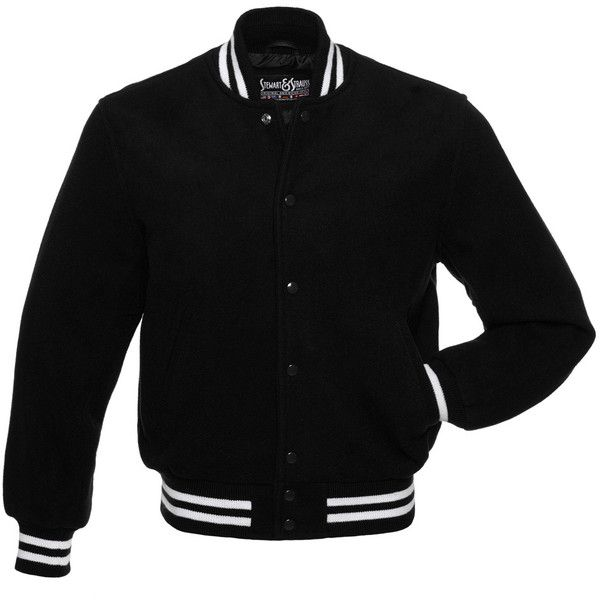 Black Wool and Black Wool Letterman Jacket - CW101 US (£115) ❤ liked on Polyvore featuring outerwear, jackets, varsity letter jackets, varsity bomber jacket, letterman jackets, varsity jacket and college jacket