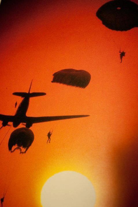 DC3 Dakota Transport Aircraft. South African Air Force Parachute Battalion air drop